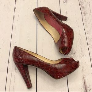 Kate Spade Red Peep Toe Leather Shoes Size 7